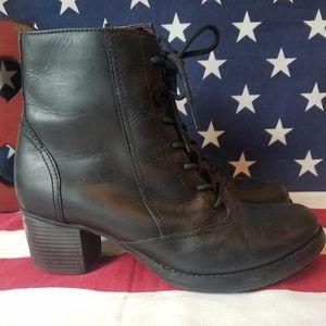Dansko Leather Side Zipper Heeled Ankle Boots